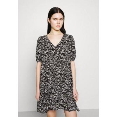 ヴェロモーダ レディース ワンピース トップス VMOHANNA V NECK SHORT DRESS - Day dress - black/birch black/birch
