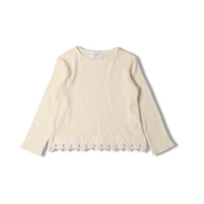 【こどもの森】  WILL MERY (ウィルメリー) 裾レース無地・小花柄テレコTシャツ 80cm~130cm N24805 キッズ ホワイト 80 KODOMONOMORI
