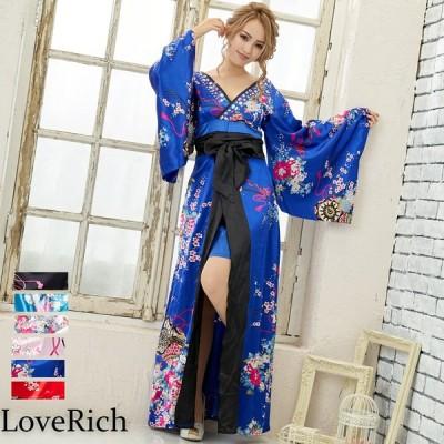 サテン花車リボンロング着物ドレス 和柄 衣装 よさこい 花魁 コスプレ キャバドレス