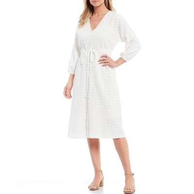 レバ レディース ワンピース トップス Embroidered V-Neck 3/4 Sleeve Self Tie Button Front Eyelet Dress White