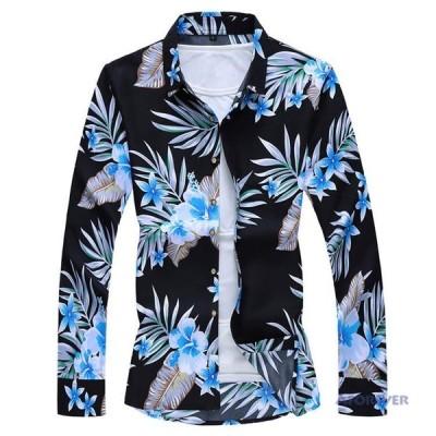 長袖シャツ アロハシャツ メンズ シャツ カジュアルシャツ 長袖 花柄シャツ 旅行 秋服 40代 50代
