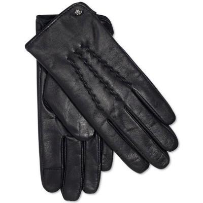 ラルフローレン 手袋 アクセサリー レディース Leather Whipstitch Touch Gloves Black