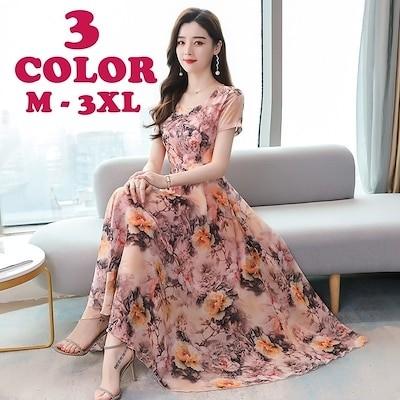 レディースファッション ワンピース 半袖 ラウンドネック ロング丈 花柄 フォーマル 上品 きれい 夏 ピンク オレンジ 青 M L XL 2XL 3XL 女性 レディース
