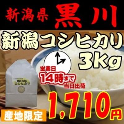 令和元年産 新潟コシヒカリ3kg 1,710円 生産地限定「黒川コシヒカリ」 お米/こしひかり/米/30 玄米,白米,分搗き選択可能