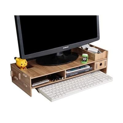 [アイリン]DIY 木製 モニター台 机上台 コンピュータディスプレイリフト 机上ラック 上置き棚 机上整理 キーボード収納 引き出し多機能
