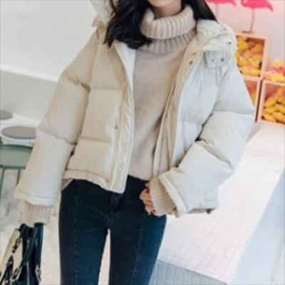 定番 人気 冬 中綿コート ショート丈 フード付き 厚手 暖か シンプル ゆったり ラグランスリーブ hf01087