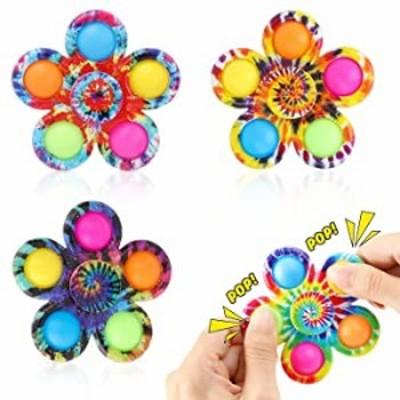 Pop Fidget Spinners Toys 4 Pack  Tie-Dye Pop Bubble Sensory Toys Set for Kids  Party Favor Fidget Toys  Pop Hand Spinners  A