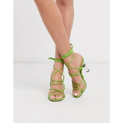 トリュフコレクション Truffle Collection レディース サンダル・ミュール シューズ・靴 tie leg heeled sandals with clear heel in lime ライム