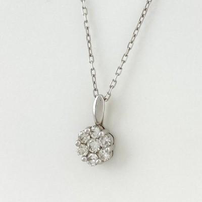メレダイヤ デザインネックレス K10 ホワイトゴールド ネックレス WG ダイヤモンド レディース 中古