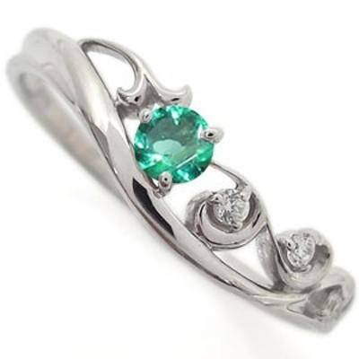 プラチナ エメラルド リング アラベスク 唐草 指輪