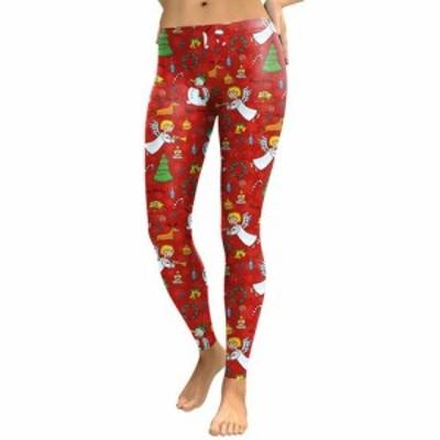 Yoga 限定販売 クリスマス柄 腹を押す ヒップライン 脚長効果 美脚 可愛い模様 スペシャル 有酸素運動 ヨガ ダンス タウン使いロングパ