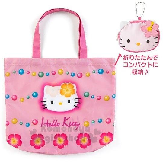 〔小禮堂〕Hello Kitty 折疊尼龍環保購物袋《粉白》手提袋.環保袋.45週年紀念系列 4901610-20668