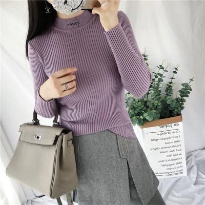 セーター ニット トップス 秋冬新作 ハイネック 刺繍 シンプル ニットセーター