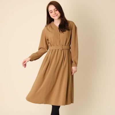 クチュール ブローチ Couture brooch 【手洗い可】ベルト付きVネックワンピース (ベージュ)