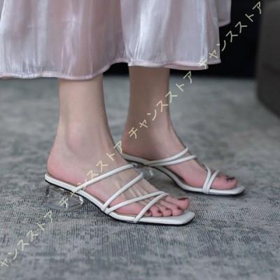 ミュール ストラップ サンダル レディース クリアヒール 多重 ベルト 美脚 軽量 4センチヒール 痛くない カジュアル 夏靴 ベージュ グリーン サボサンダル
