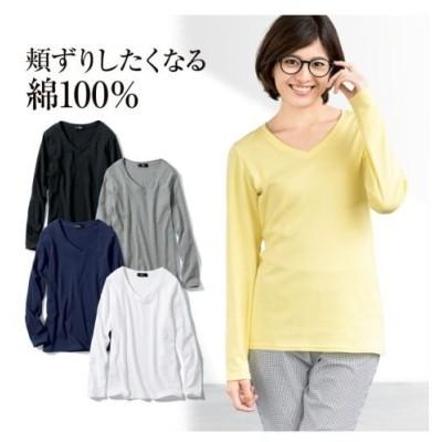 トップス レディース 大きいサイズ  綿100%VネックTシャツ ニッセン nissen