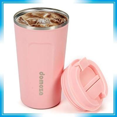 domoza 蓋付きコーヒーマグ ステンレス魔法瓶 おしゃれコーヒータンブラー 二重構造 真空断熱カップ 保温保冷