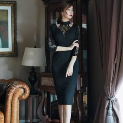 ワンピース ドレス 春 ブラック シースルー セクシー エレガント 七分袖 可愛い おしゃれ 大人 レディース 結婚式 fe-2420