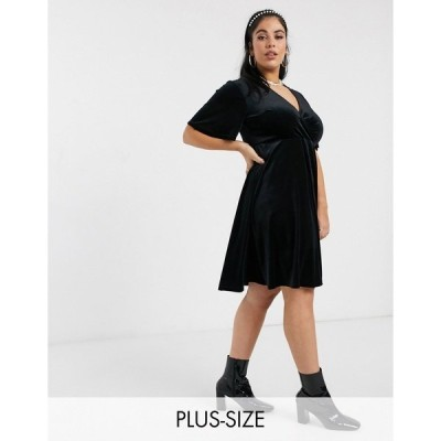 ニュールック レディース ワンピース トップス New Look Curve velvet v-neck mini dress in black Black