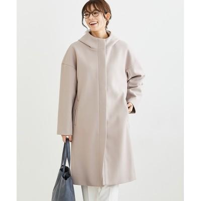 着心地軽やか ウール調 フード付きロングコート (コート)(レディース)Coat