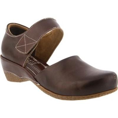 スプリングステップ レディース スニーカー シューズ Gloss Mary Jane Chocolate Brown Leather