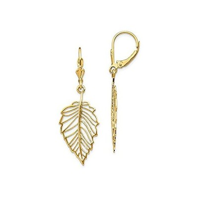 Solid 14k Yellow Gold Leaf Leverback Earrings - 42mm x 13mm