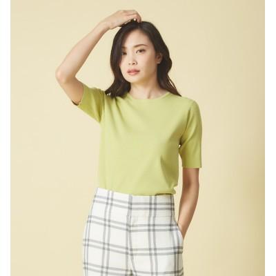 【カリテ/qualite】 ウォッシャブルベーシックニットTシャツ