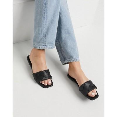 エイソス レディース サンダル シューズ ASOS DESIGN Forty woven flat sandals in black Black