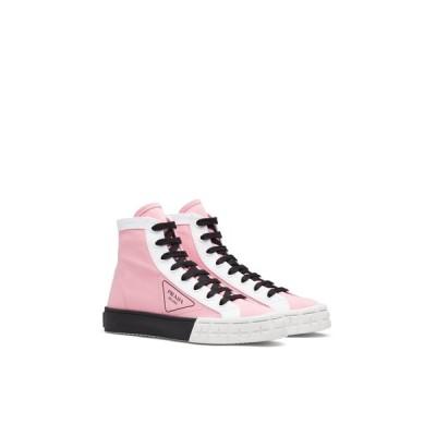 プラダ PRADA ローファー シューズ 靴 ピンク ホワイト ギャバジン コットン