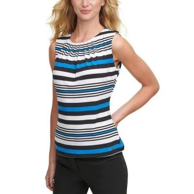 カルバンクライン カットソー トップス レディース Pleated-Neck Striped Top Blue Multi