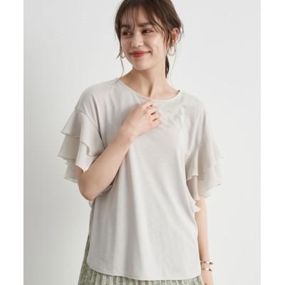 tシャツ Tシャツ 袖フリルプルオーバー *
