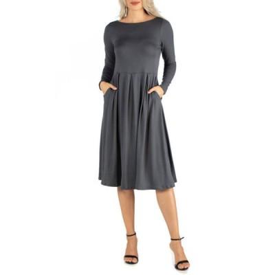 24セブンコンフォート レディース ワンピース トップス Women's Midi Length Fit N Flare Pocket Dress