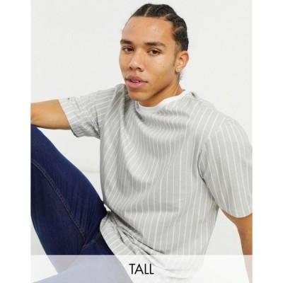 アナザーインフルエンス メンズ Tシャツ トップス Another Influence Tall boxy fit t-shirt in gray stripe Grey