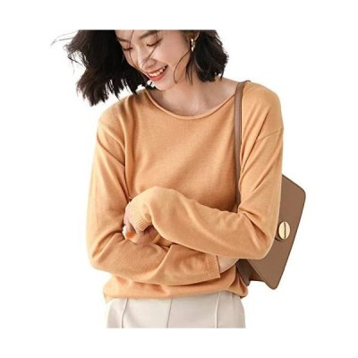 KAGOMI セーター レディース ニット 丸首 薄手 クルーネック 長袖 カットソー トップス 無地 ゆったり 柔らかい (キャメル L)