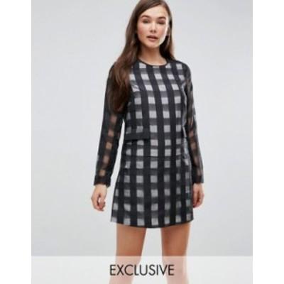 エイソス レディース ワンピース トップス Le Kilt for ASOS Long Sleeve Romper With Skirt Overlay White/black