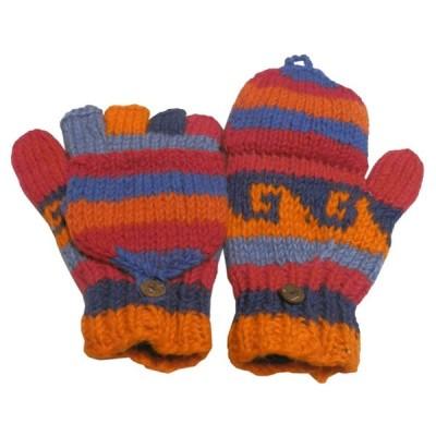 手袋 アジアン衣料 ネパール手編みカバー付き指なし手袋(フリース付)19  クリックポスト選択 送料200円