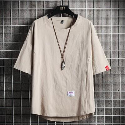 【Lサイズ/カーキ】快適綿素材 ドロップショルダー Tシャツ 春 夏 tシャツ メンズ 半袖 綿 無地 軽い 柔らかい シルエット おしゃれ ファッシ