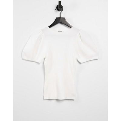 ミスガイデッド レディース シャツ トップス Missguided top with puff sleeves in white