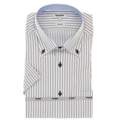 【タカキュー】 アイスカプセル形態安定スリムフィット ボタンダウン半袖ビジネスドレスシャツ/ワイシャツ メンズ グレー M TAKA-Q