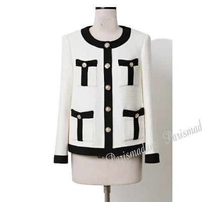 ノーカラージャケット ツイード ホワイト エレガンスフォーマル 入学式 七五三 パーティー セレモニー 結婚式 parismadam XSからXL 送料無料