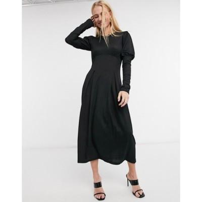 リバーアイランド レディース ワンピース トップス River Island volume sleeve smock midi dress in black