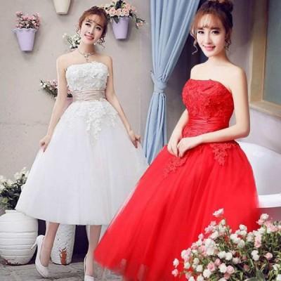 ミモレ丈ドレス ウェディングドレス 花嫁 編み上げ ドレス プリンセスドレス Aライン レース ウエディング