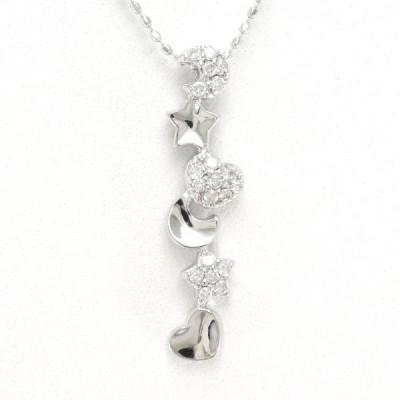 ネックレス K18 18金 WG ホワイトゴールド ダイヤ 0.13 総重量約3.2g