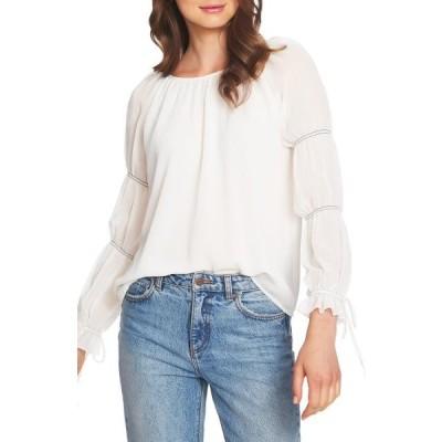 レディース 衣類 トップス Womens Blouse Cream Smocked-Tie-Sleeve Chiffon XL ブラウス&シャツ
