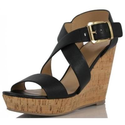 デリシャス レディース パンプス Delicious Women's Baymist Faux Leather Criss Cross Ankle Strap Cork Platform Wedge