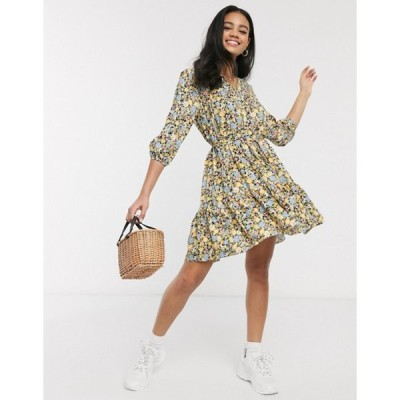 ミスセルフフリッジ レディース ワンピース トップス Miss Selfridge mini smock dress in yellow floral