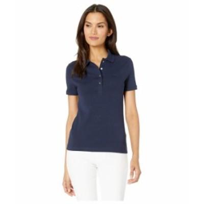 ラコステ レディース シャツ トップス Short Sleeve Slim Fit Strech Pique Polo Navy Blue