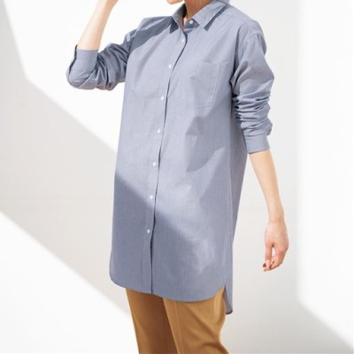 UVケア綿混ロングシャツ(洗濯機OK)/グレイッシュブルー(細ストライプ)/M