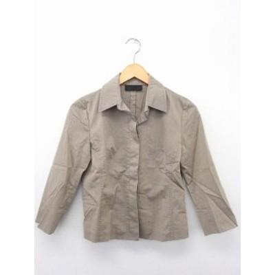 【中古】アイシービー iCB ジャケット アウター ステンカラー 長袖 隠しボタン コットン 綿 11 ブラウングレー 茶 灰