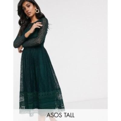 エイソス レディース ワンピース トップス ASOS DESIGN Tall Premium lace midi skater dress in green Green